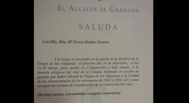 saluda a Maite Molina voto virgen angustias