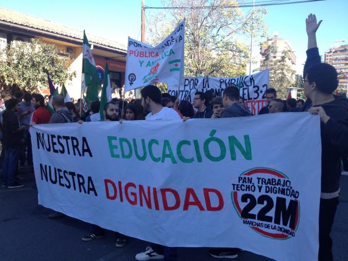 Universitarios de Granada se manifiestan contra la LOMCE