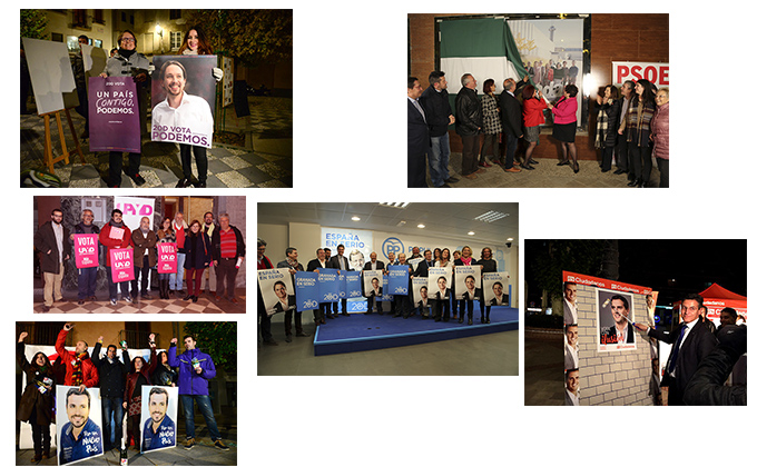 Pegada de carteles inicio campaña collage