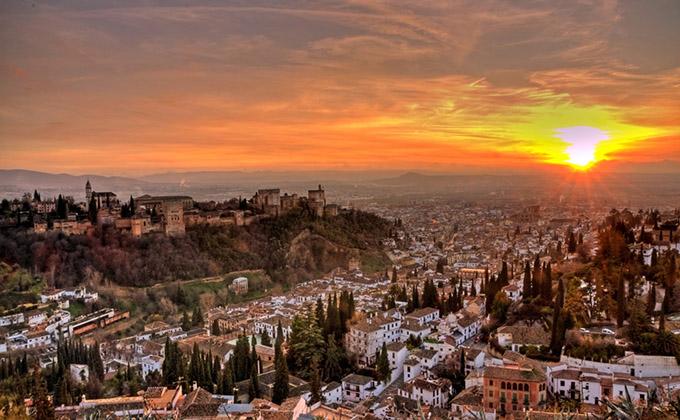 alhambra puesta sol granada