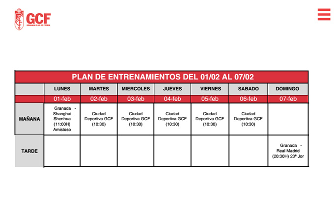 plan entrenamiento granada real madrid febrero