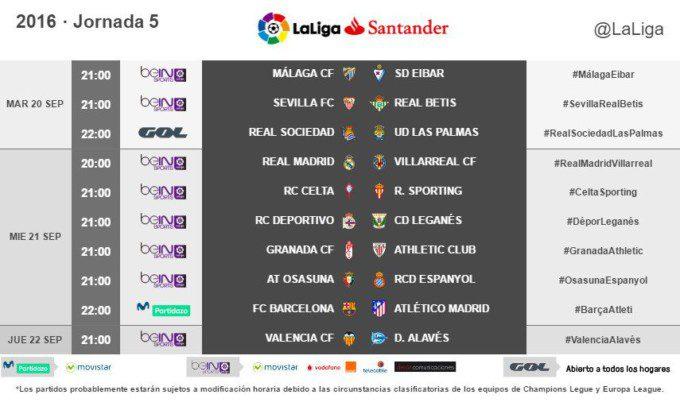 Horario Jornada 5 La Liga (2)