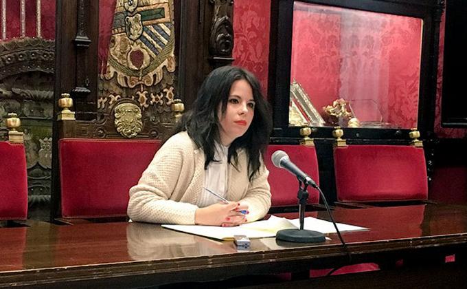La concejal de Ciudadanos Lorena Rodríguez en rueda de prensa