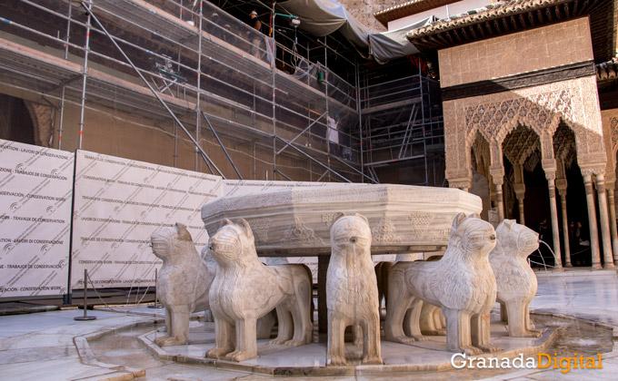 Restauración en el Patio de los Leones