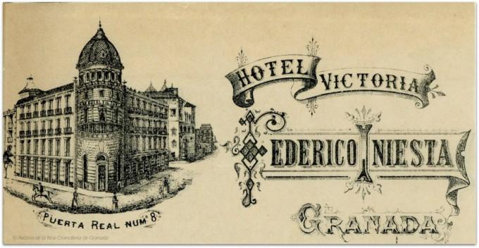 Factura del Hotel Victoria- Efemérides Granadinas