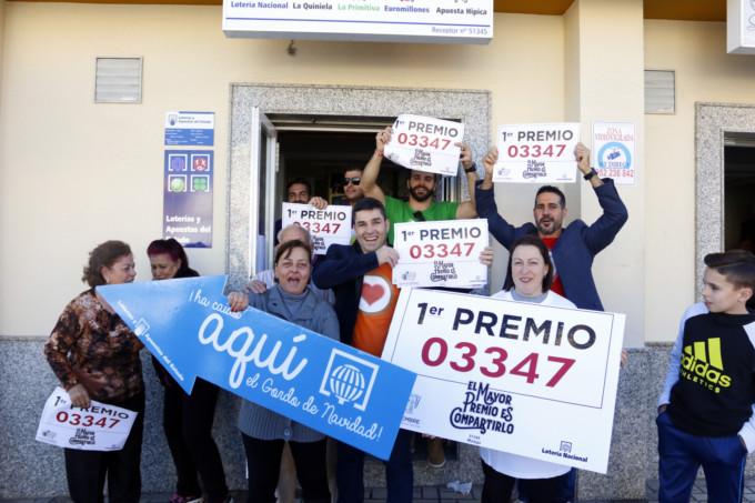 """El 03347, el """"Gordo"""" del Sorteo de Navidad 2018, en Málaga."""