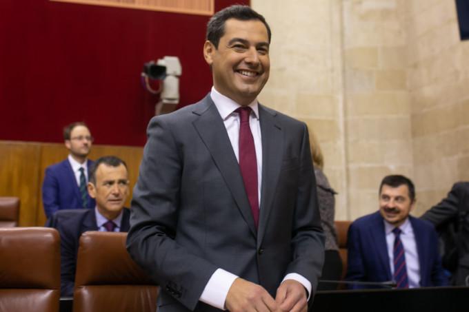 El portavoz parlamentario de Vox en debate de investidura de Juanma Moreno (PP-A) como presidente de la Junta.