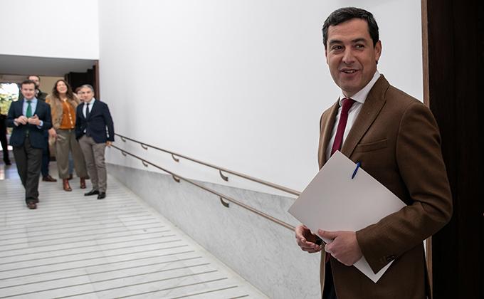 El presidente de la Junta, Juanma Moreno, informa de la composición del nuevo Gobierno andaluz. En el Palacio de San Telmo.
