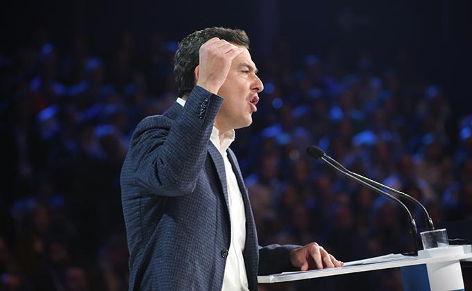 """El presidente de la Junta de Andalucía, Juanma Moreno, interviene durante la tercera jornada de la Convención Nacional del PP """"España en libertad"""""""