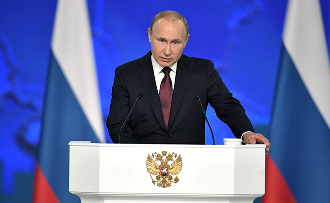 HANDOUT - 20 February 2019, Russia, Moscow: Russian President Vladimir Putin delivers a speech during a ceremony to address members of the Russian Federal Assembly. Photo: -/Kremlin/dpa - ATTENTION: editorial use only and only if the credit mentioned abov