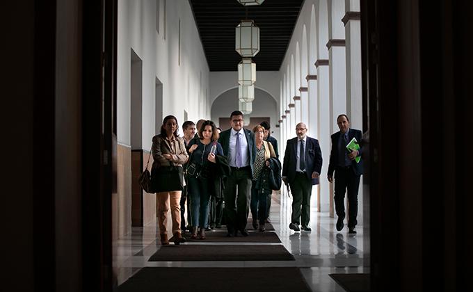 Rueda de prensa del grupo parlamentario de Vox en el Parlamento de Andalucía.