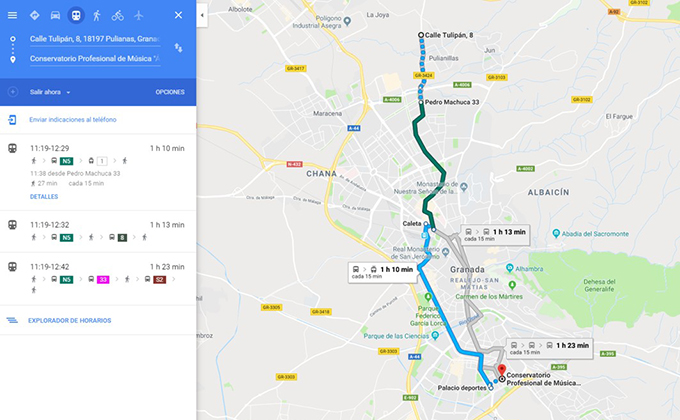 itinerario google metro