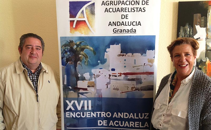 CONCEJAL DE CULTURA OLGA RUANO Y PRESIDENTE DE LA AGRUPACION DE ACUARELISTAS ALEJANDRO RODRIGUEZ EN LA PRESENTACIÓN 19