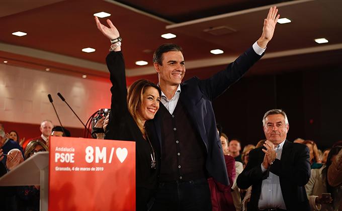 el secretario general del PSOE y presidente del Gobierno, Pedro Sánchez y la secretaria general del PSOE de Andalucia, Susana Díaz, participa en un acto público del PSOE en Granada
