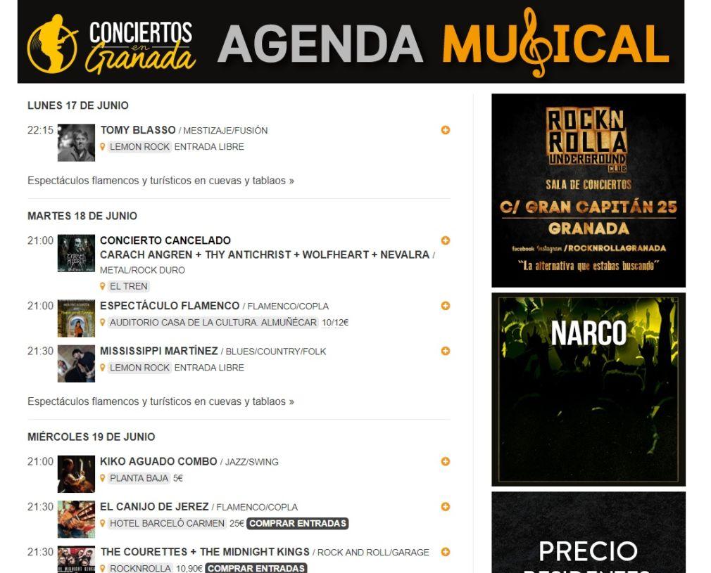 agenda musical 17 junio
