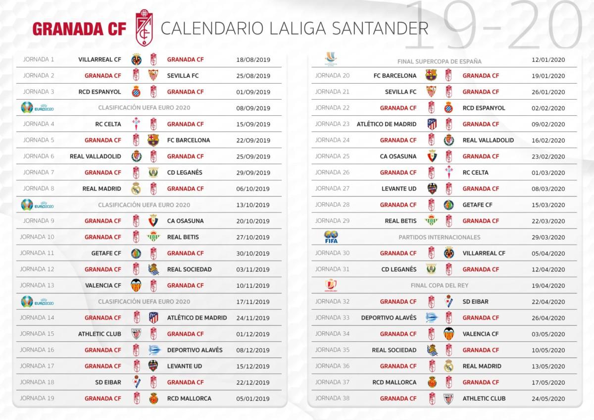 Calendario 2020 Liga.Calendario Completo Del Granada Cf Para La Temporada 2019 2020