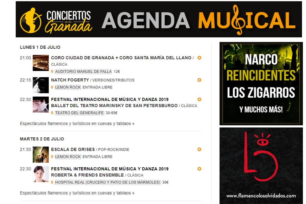 agenda musical 1 al 7 julio