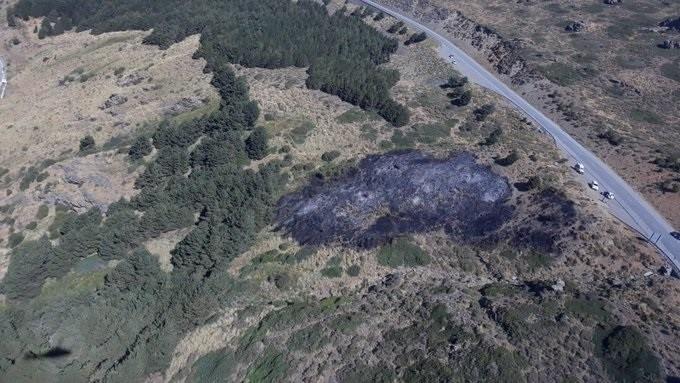 Superficie calcinada por el incendio de Sierra Nevada