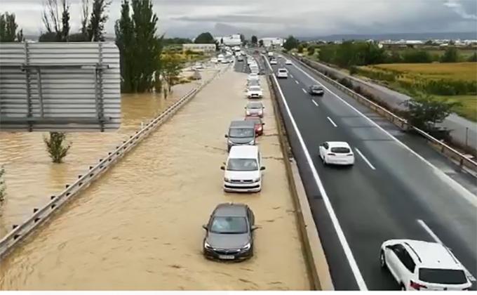 inundacion A92 SantaFe rio Salado