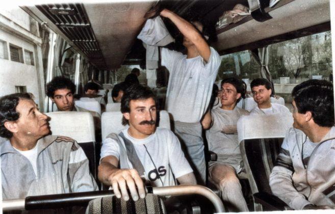 El equipo, en un viaje en autobús que lo llevó hasta Lugo.