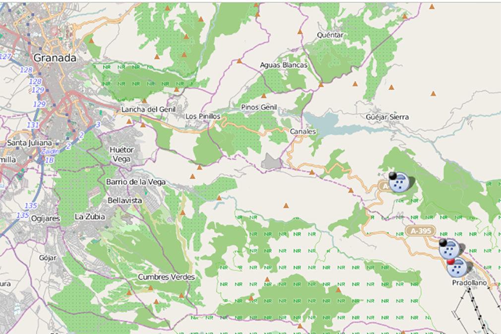 mapa carretera cortada por nieve granada 181119
