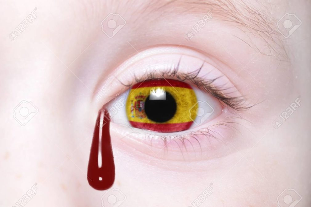 human's eye with national flag of spain with bloody tears.