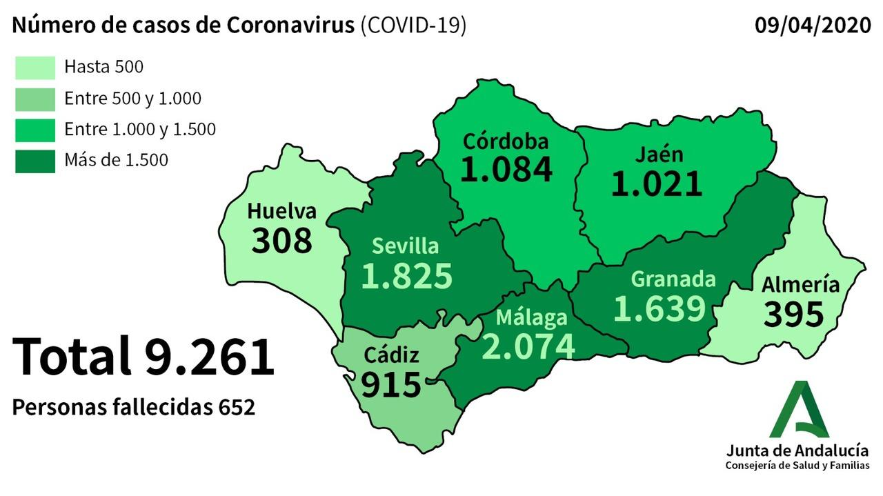 mapa coronavirus andalucía 090420