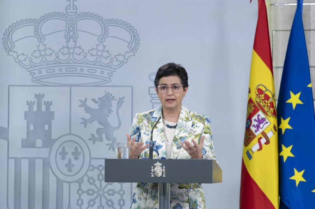 La ministra de Asuntos Exteriores, UE y Cooperación, Arancha González Laya, en el Palacio de la Moncloa