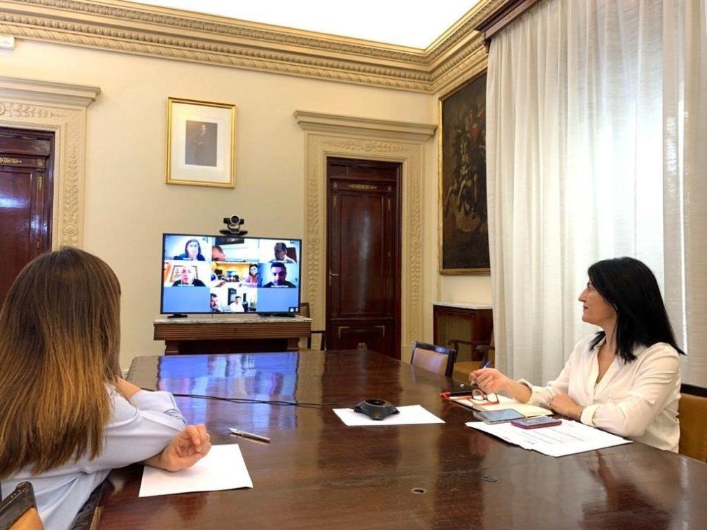 La subdelegada del Gobierno en Granada, Inmaculada López Calahorro, en reunión telemática sobre el PFEA -