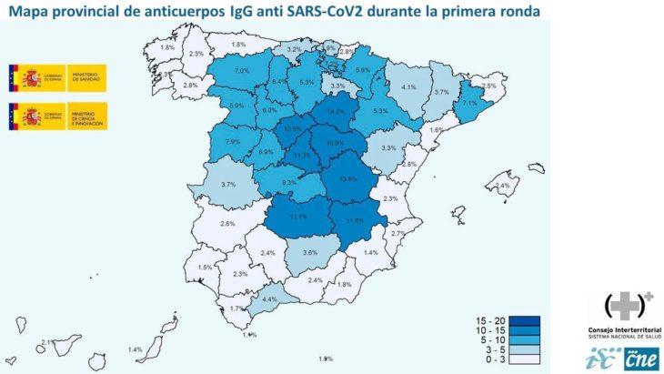 Mapa provincial de anticuerpos Covid 19 - MINISTERIO DE SANIDAD