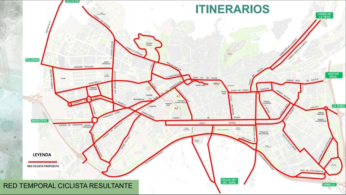 mapa red ciclista granada