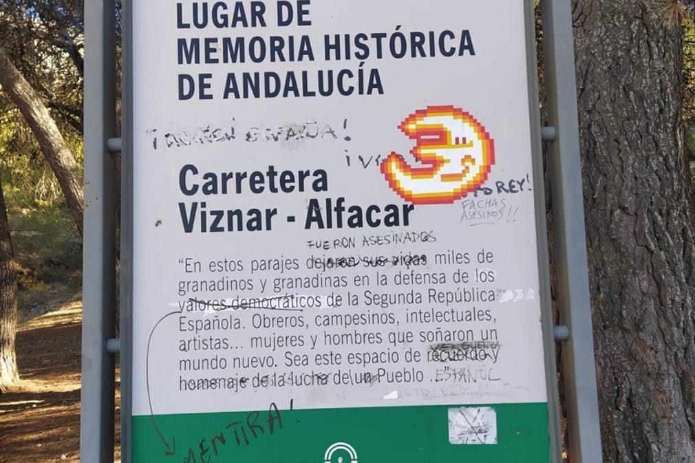 Granada.- Memoria.- Condenan un nuevo acto vandálico en la placa del Barranco de Víznar, Lugar de Memoria
