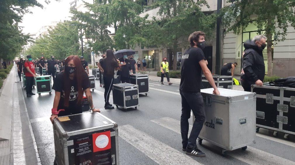 protesta alerta roja sector cultural granada - Foto MJ Ramírez