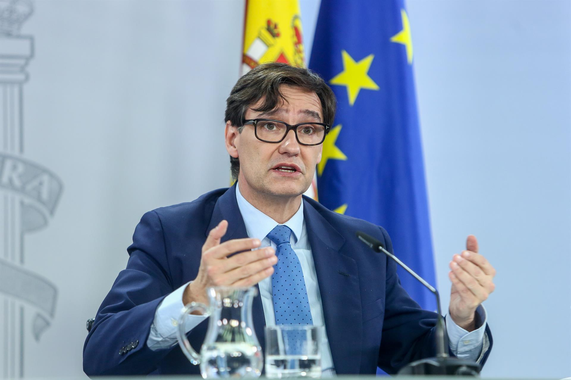 El ministro de Sanidad, Salvador Illa, ofrece una rueda de prensa tras la celebración del Consejo Interterritorial en el Complejo de Moncloa, en Madrid,