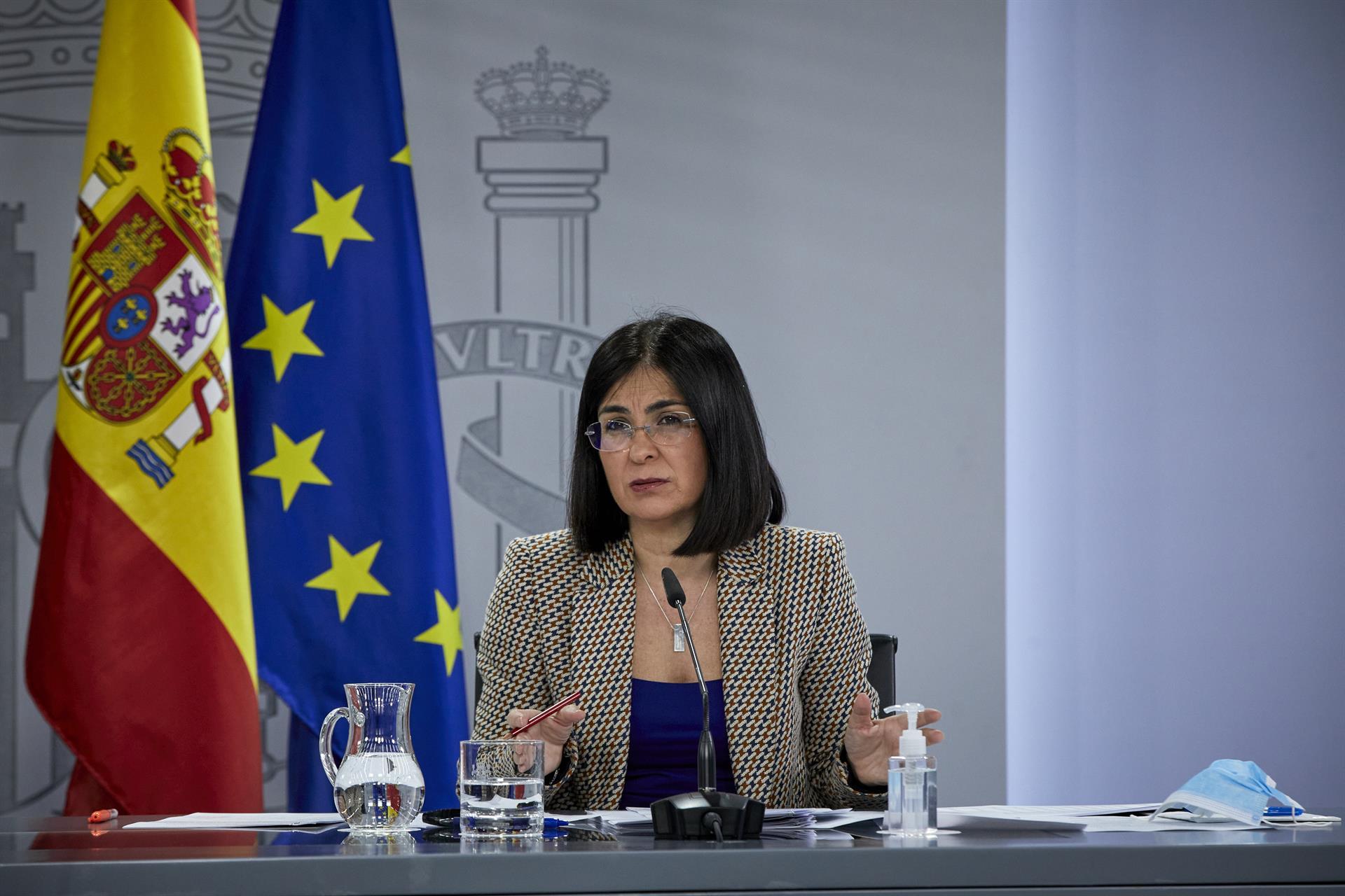 La ministra de Sanidad, Carolina Darias durante una rueda de prensa, tras la reunión del Consejo Interterritorial del Sistema Nacional de Salud, en Madrid (España), a 10 de febrero de 2021. – EUROPA PRESS/J. Hellín. POOL – Europa Press
