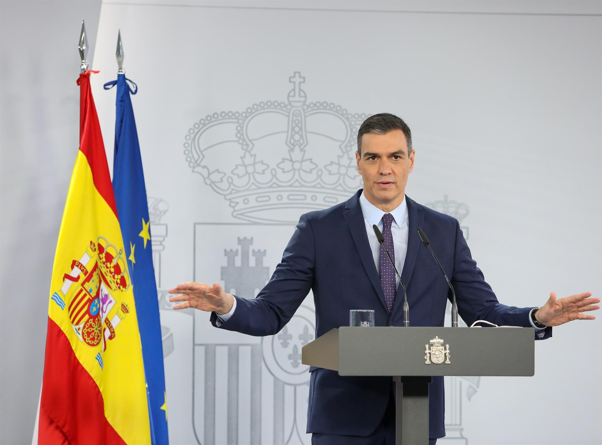 Pedro Sánchez interviene tras la reunión Consejo de Ministros 13 de abril de 2021 Foto EUROPA PRESS-MFERNÁNDEZ