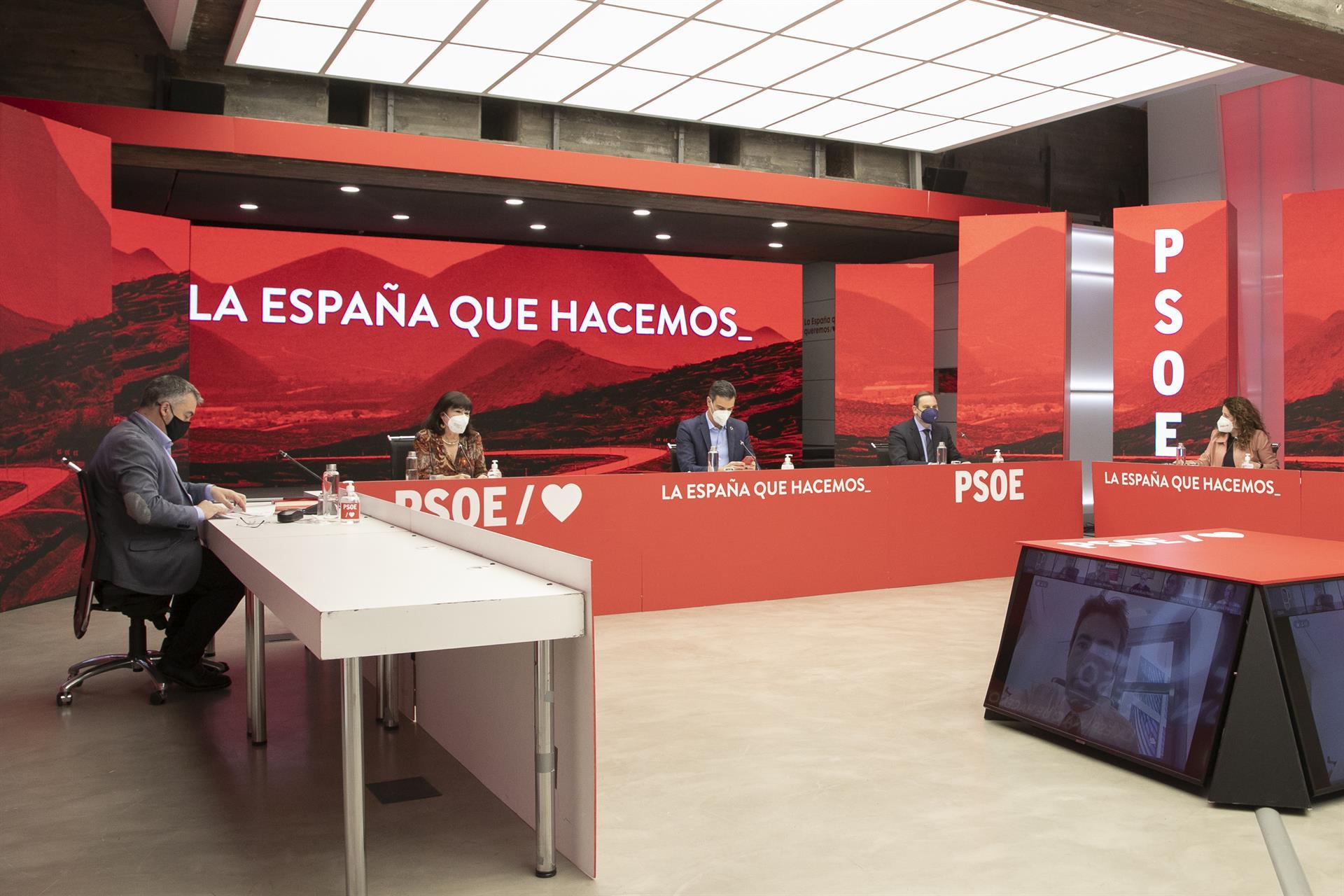 PSOE Santos Cerdán, Cristina Narbona, Pedro Sánchez, José Luis Ábalos