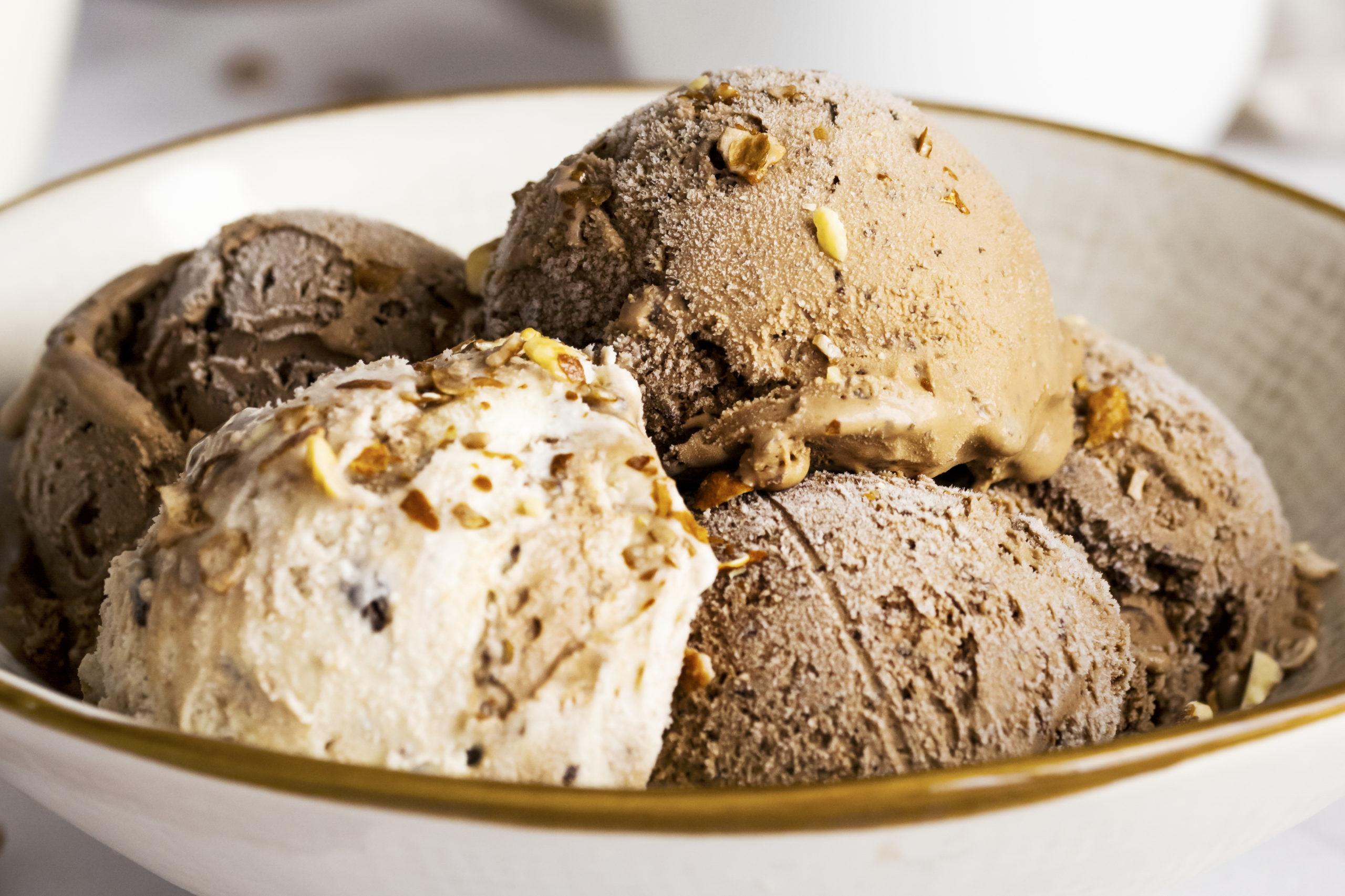 Chocolate and vanilla ice cream bowl dessert close up
